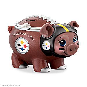 Pittsburgh Steelers Porcelain Football Piggy Bank