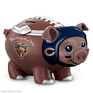 Chicago Bears Porcelain Football Piggy Bank