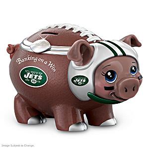 New York Jets Porcelain Football Piggy Bank