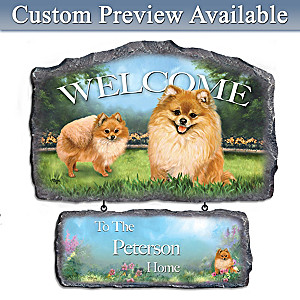 Linda Picken Pomeranian Art Personalized Welcome Sign