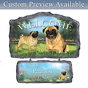 Linda Picken Pug Art Personalized Welcome Sign