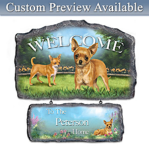 Linda Picken Chihuahua Art Personalized Welcome Sign