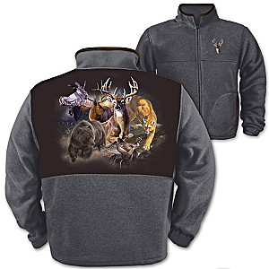"""Northwoods Big Game"" Wildlife Art Men's Fleece Jacket"