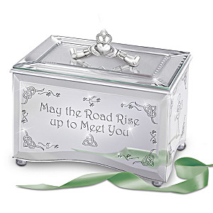 Irish Blessing Claddagh Etched Mirror Music Box