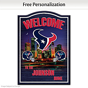 Houston Texans Wooden Welcome Sign Personalized With Name