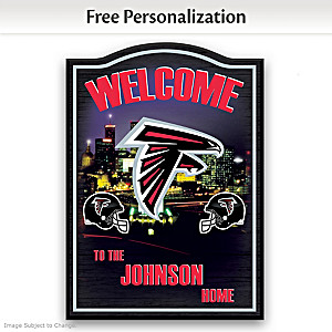 Atlanta Falcons Wooden Welcome Sign Personalized With Name