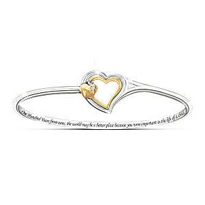 """Heart Of Teaching"" Bangle Bracelet With Swarovski Crystal"