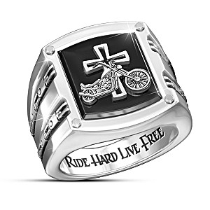 """Biker's Blessing"" Stainless Steel Ring"
