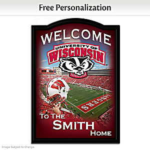 Wisconsin Badgers Wooden Welcome Sign Personalized With Name