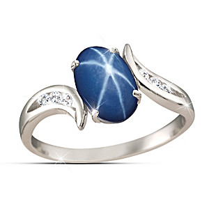 """Sky Gazer"" Created Star Sapphire And White Topaz Ring"