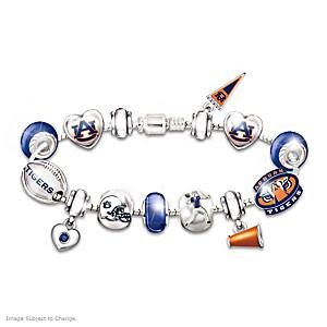 Auburn Tigers Charm Bracelet With Swarovski Crystals