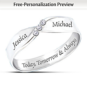 """Infinite Love"" 3-Diamond Ring With Your Engraved Names"