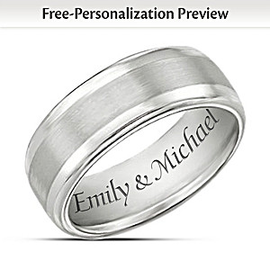 Personalized Wedding Band-Style Tungsten Men's Ring