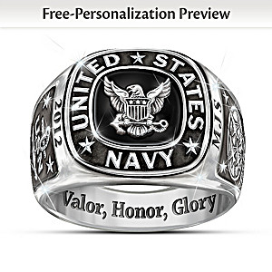 Navy Personalized Men's Ring: Choose An Insignia