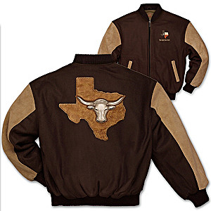 """Texas Pride"" Varsity-Style Embroidered Twill Jacket"