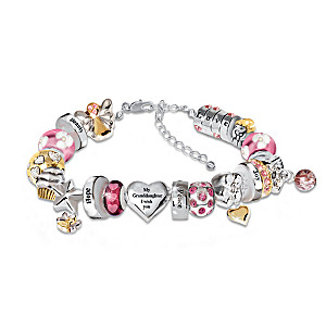 """Heartfelt Wishes"" Crystal Charm Bracelet For Granddaughter"