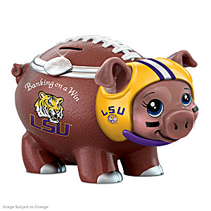 Louisiana State University Porcelain Football Piggy Bank