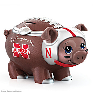 Nebraska Cornhuskers Porcelain Football Piggy Bank