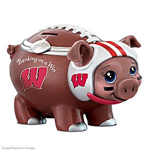 Wisconsin Badgers Porcelain Football Piggy Bank