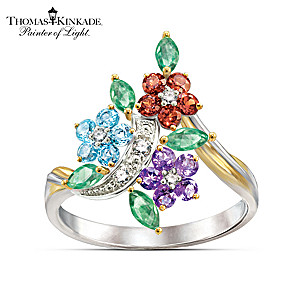Thomas Kinkade Garden Art-Inspired Floral Diamond Ring