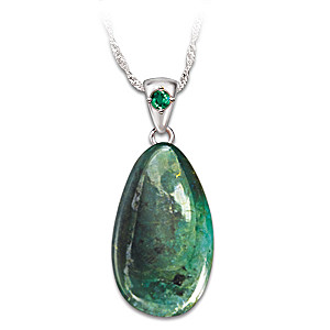 25 Carat Rough-Cut Emerald Pendant Necklace