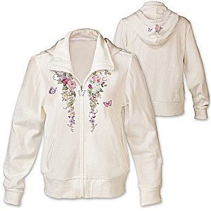 "Lena Liu ""Floral Cascade"" Women's Hoodie With Embroidery"