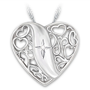"Filigree ""Pure Faith"" Pendant With Etched Cross And Diamond"