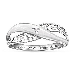 """Pure Faith"" Engraved Silver Diamond Ring For Daughter"