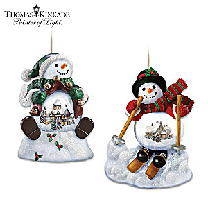 Thomas Kinkade Holiday Scene Snowman Snowglobe Ornament Set