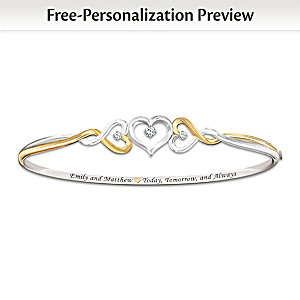"""Two Hearts Become One"" Name-Engraved Diamond Bracelet"