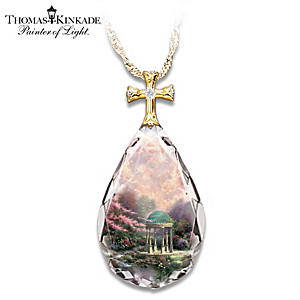 "Thomas Kinkade ""Garden Of Prayer"" Cross Pendant Necklace"