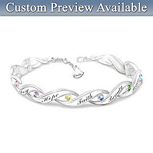 Personalized Engraved Crystal Bracelet For Granddaughters