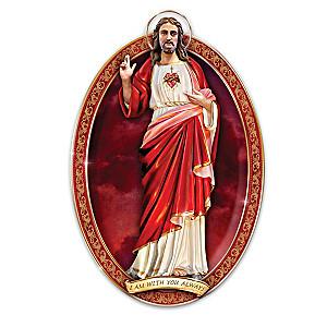 """""""Sacred Heart Of Jesus"""" Sculptural Porcelain Collector Plate"""