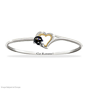 """Go Ravens!"" Engraved Bangle Bracelet"