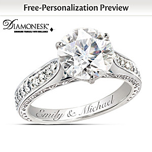 "Diamonesk ""Love's Perfection"" Engagement-Style Engraved Ring"