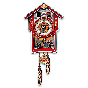 Firefighters Wall Clock With Emblems, Sirens And Motion