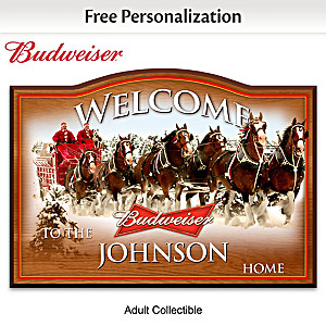 Budweiser Wooden Welcome Sign Personalized With Name