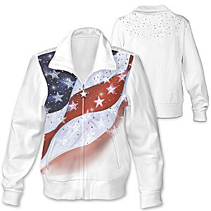 """American Sparkle"" US Flag-Inspired Front-Zip Knit Jacket"