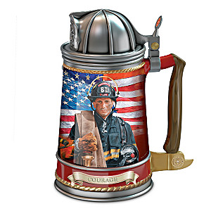 Firefighter Stoneware Collector Stein With Glen Green Art