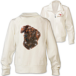 Dachshund Doggone Cute Embroidered Knit Jacket With Sequins