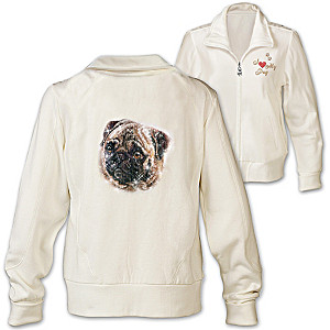 Pug Doggone Cute Embroidered Knit Jacket With Sequins