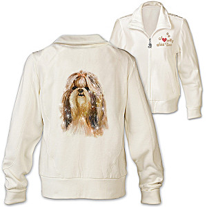 Shih Tzu Doggone Cute Embroidered Knit Jacket With Sequins