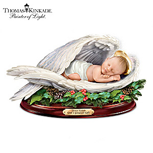 Thomas Kinkade Baby Jesus Sculpture With Nativity Narration
