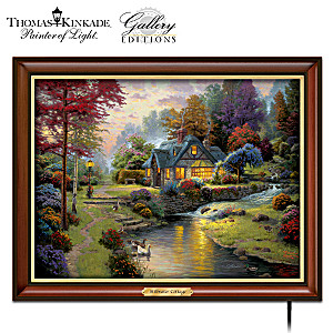 "Thomas Kinkade ""Stillwater Cottage"" Illuminated Canvas Print"