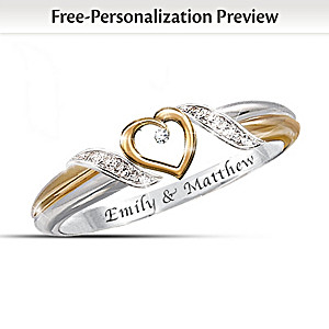"""Heart of Love"" Diamond Ring With 2 Engraved Names"