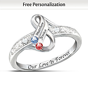 """Infinite Love"" Personalized Couples Birthstone Ring"