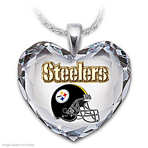 Go Steelers! Crystal Heart Pendant Necklace