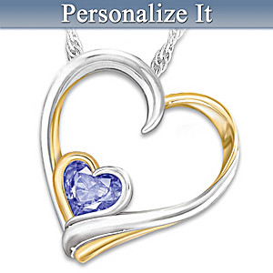 Crystal Birthstone Engraved Pendant Necklace For Daughters