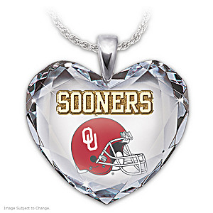 Go Sooners! Crystal Heart Pendant Necklace
