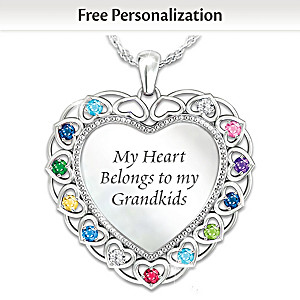 """My Heart Belongs To My Grandkids"" Personalized Necklace"